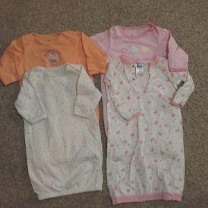 4 sleep sacks, all with fold over hand covers